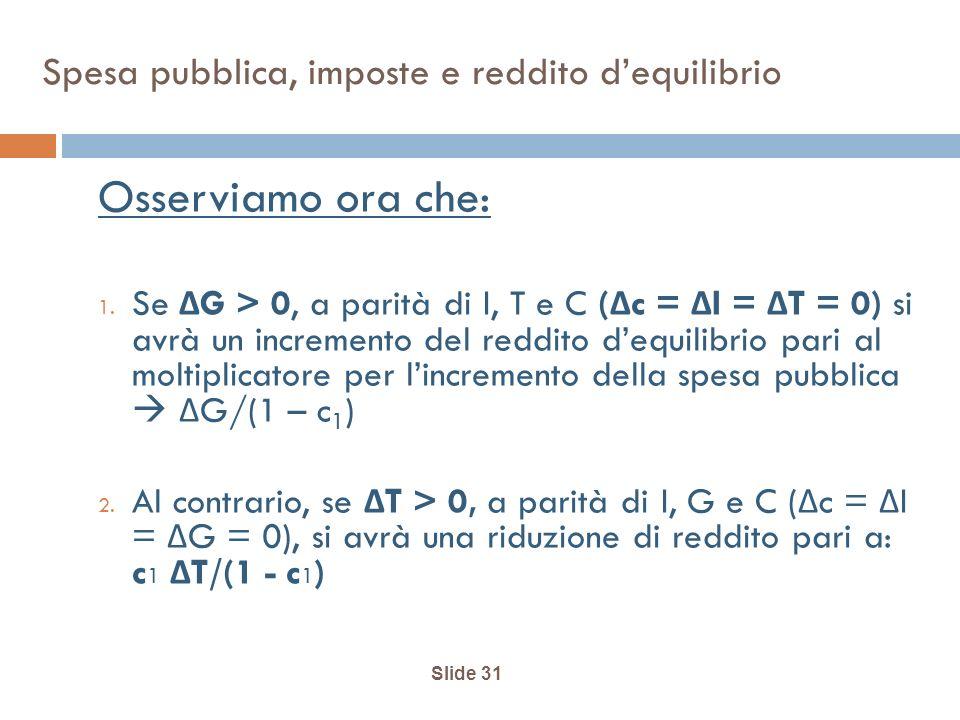 Slide 31 Spesa pubblica, imposte e reddito dequilibrio Osserviamo ora che: 1. Se Δ G > 0, a parità di I, T e C ( Δ c = Δ I = Δ T = 0) si avrà un incre