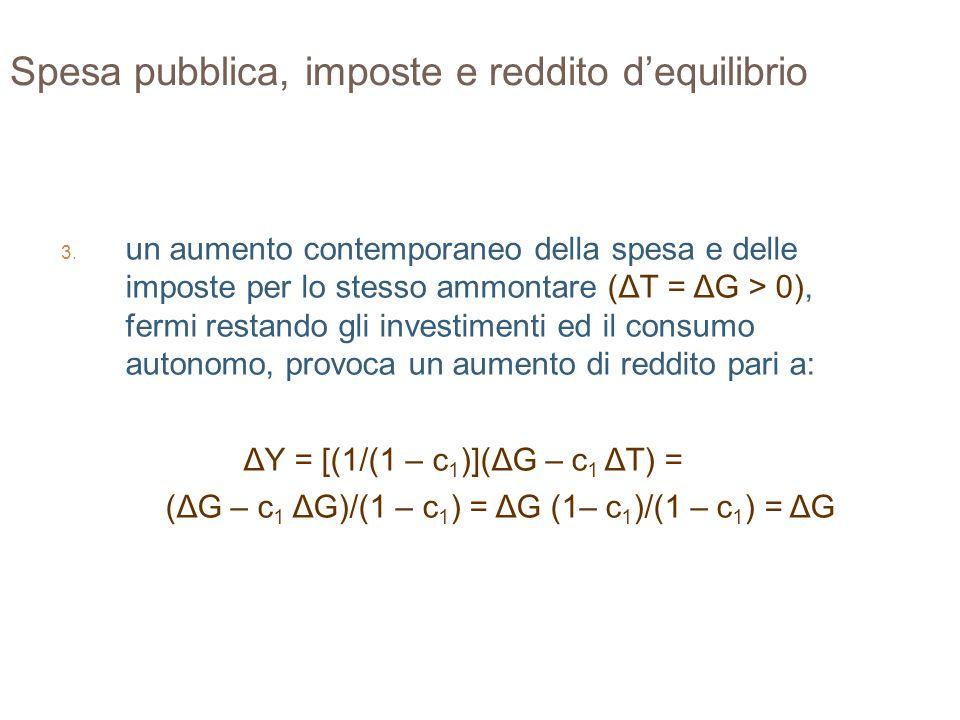 32 Spesa pubblica, imposte e reddito dequilibrio 3. un aumento contemporaneo della spesa e delle imposte per lo stesso ammontare (ΔT = ΔG > 0), fermi