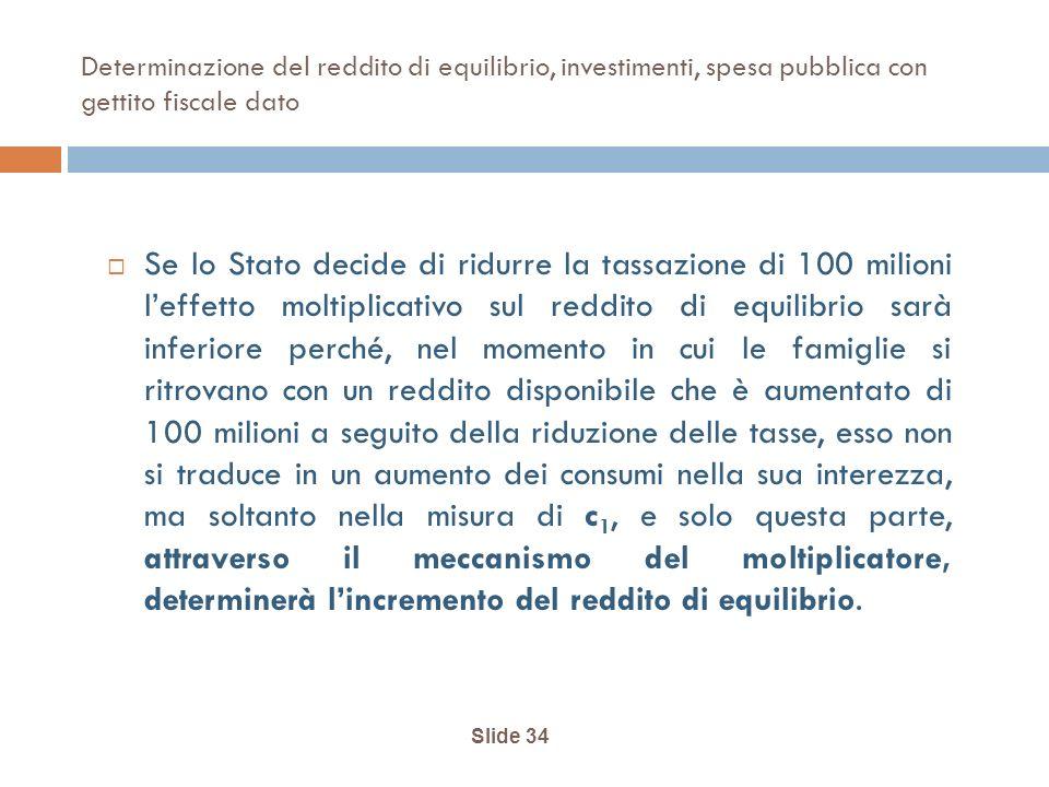 Determinazione del reddito di equilibrio, investimenti, spesa pubblica con gettito fiscale dato Se lo Stato decide di ridurre la tassazione di 100 mil