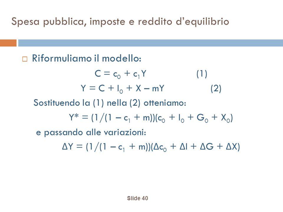 Slide 40 Spesa pubblica, imposte e reddito dequilibrio Riformuliamo il modello: C = c 0 + c 1 Y(1) Y = C + I 0 + X – mY (2) Sostituendo la (1) nella (2) otteniamo: Y* = (1/(1 – c 1 + m))(c 0 + I 0 + G 0 + X 0 ) e passando alle variazioni: Δ Y = (1/(1 – c 1 + m))( Δ c 0 + Δ I + Δ G + Δ X)