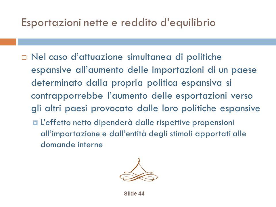 Slide 44 Esportazioni nette e reddito dequilibrio Nel caso dattuazione simultanea di politiche espansive allaumento delle importazioni di un paese det