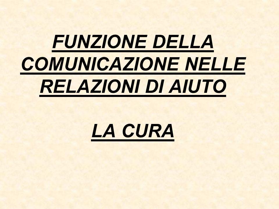 FUNZIONE DELLA COMUNICAZIONE NELLE RELAZIONI DI AIUTO LA CURA
