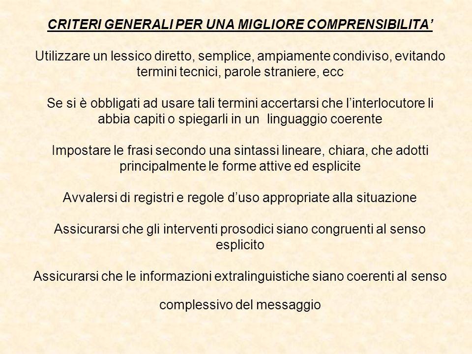 CRITERI GENERALI PER UNA MIGLIORE COMPRENSIBILITA Utilizzare un lessico diretto, semplice, ampiamente condiviso, evitando termini tecnici, parole stra