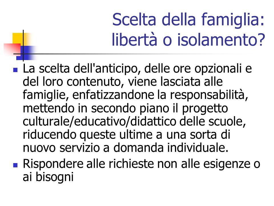 Scelta della famiglia: libertà o isolamento.