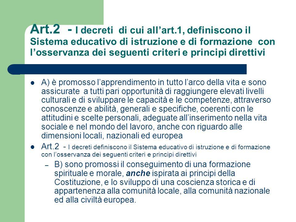 Art.2 - I decreti definiscono il Sistema educativo di istruzione e di formazione con losservanza dei seguenti criteri e principi direttivi c) è assicurato a tutti il diritto allistruzione e alla formazione per almeno dodici anni o,comunque, sino al conseguimento di una qualifica entro il 18° anno di età.