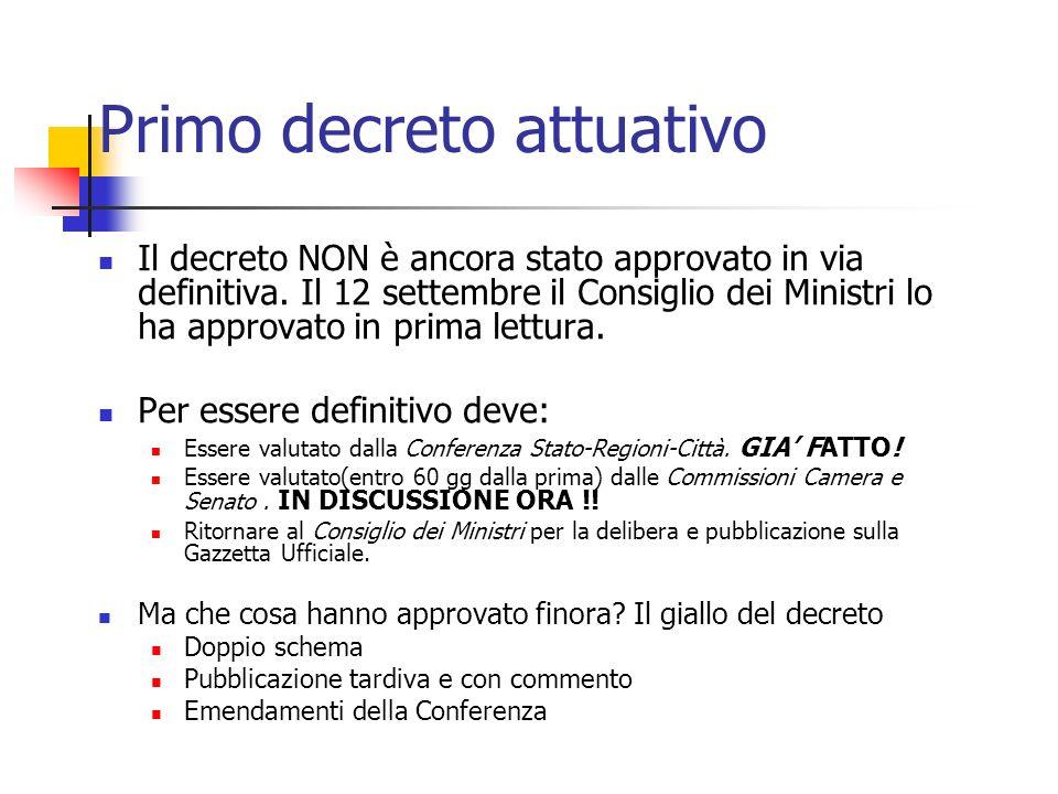 Primo decreto attuativo Il decreto NON è ancora stato approvato in via definitiva.