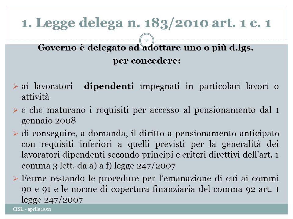 1.Legge delega n. 183/2010 art. 1 c. 1 Governo è delegato ad adottare uno o più d.lgs.