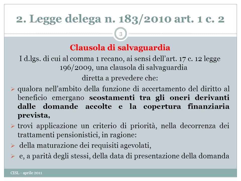2.Legge delega n. 183/2010 art. 1 c. 2 Clausola di salvaguardia I d.lgs.