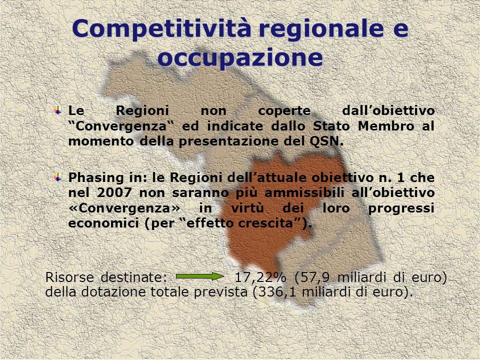 Competitivitàregionale e occupazione Competitività regionale e occupazione Le Regioni non coperte dallobiettivo Convergenza ed indicate dallo Stato Membro al momento della presentazione del QSN.