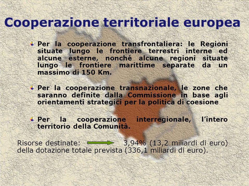 Cooperazione territoriale europea Per la cooperazione transfrontaliera: le Regioni situate lungo le frontiere terrestri interne ed alcune esterne, nonché alcune regioni situate lungo le frontiere marittime separate da un massimo di 150 Km.