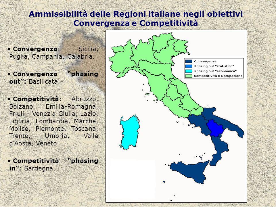 Ammissibilità delle Regioni italiane negli obiettivi Convergenza e Competitività Convergenza: Sicilia, Puglia, Campania, Calabria.