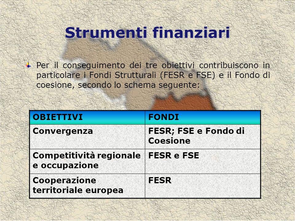Strumenti finanziari Per il conseguimento dei tre obiettivi contribuiscono in particolare i Fondi Strutturali (FESR e FSE) e il Fondo di coesione, secondo lo schema seguente: OBIETTIVIFONDI ConvergenzaFESR; FSE e Fondo di Coesione Competitività regionale e occupazione FESR e FSE Cooperazione territoriale europea FESR