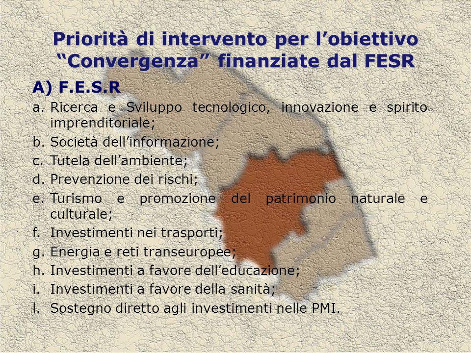 Priorità di intervento per lobiettivo Convergenza finanziate dal FESR A) F.E.S.R a.Ricerca e Sviluppo tecnologico, innovazione e spirito imprenditoriale; b.Società dellinformazione; c.Tutela dellambiente; d.Prevenzione dei rischi; e.Turismo e promozione del patrimonio naturale e culturale; f.Investimenti nei trasporti; g.Energia e reti transeuropee; h.Investimenti a favore delleducazione; i.Investimenti a favore della sanità; l.Sostegno diretto agli investimenti nelle PMI.