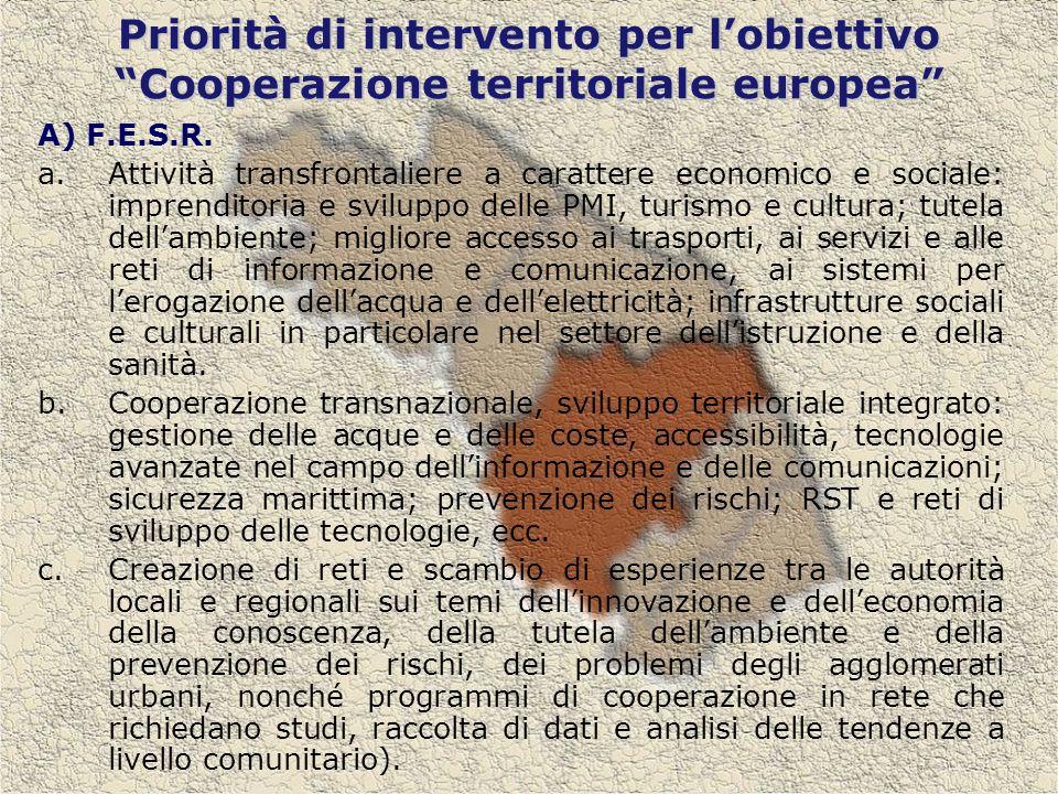 Priorità di intervento per lobiettivo Cooperazione territoriale europea A) F.E.S.R.