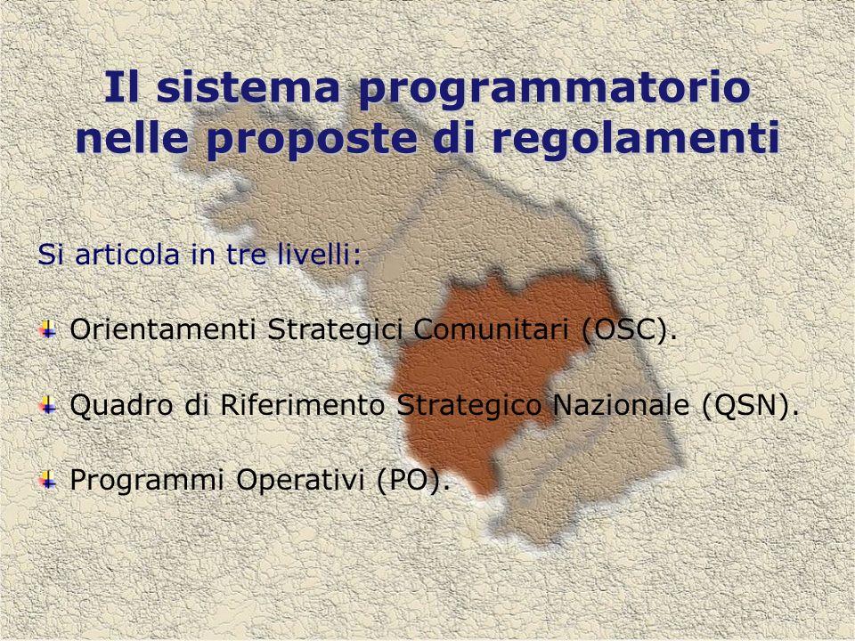 Il sistema programmatorio nelle proposte di regolamenti Si articola in tre livelli: Orientamenti Strategici Comunitari (OSC).