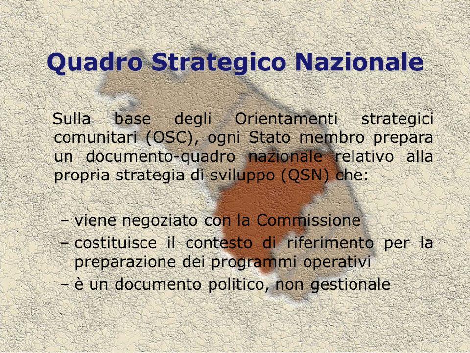 Quadro Strategico Nazionale Sulla base degli Orientamenti strategici comunitari (OSC), ogni Stato membro prepara un documento-quadro nazionale relativo alla propria strategia di sviluppo (QSN) che: –viene negoziato con la Commissione –costituisce il contesto di riferimento per la preparazione dei programmi operativi –è un documento politico, non gestionale