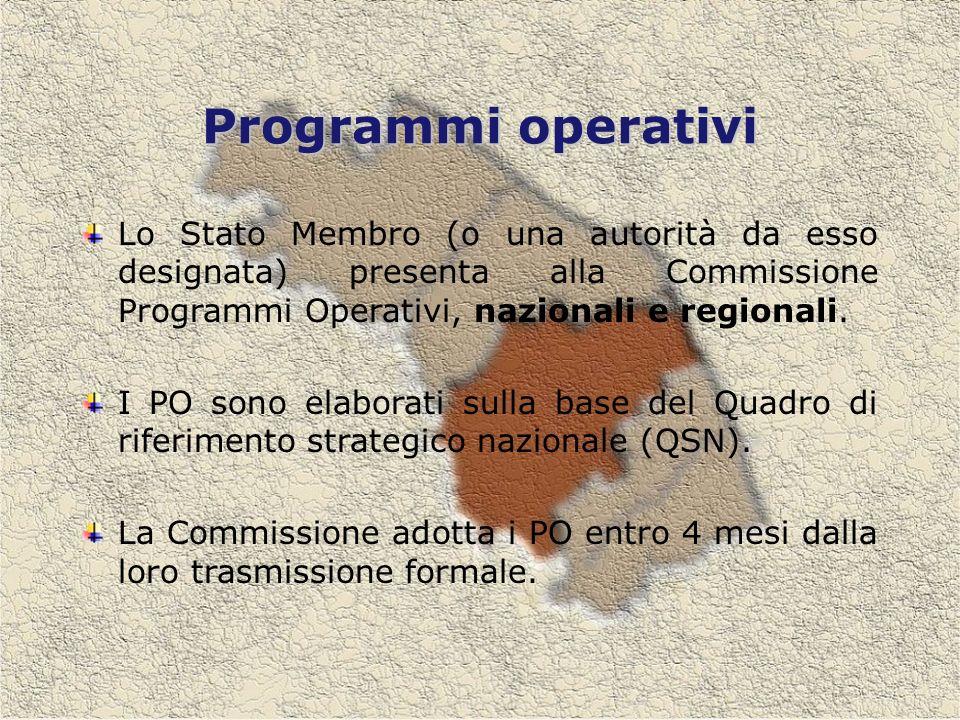 Programmi operativi Lo Stato Membro (o una autorità da esso designata) presenta alla Commissione Programmi Operativi, nazionali e regionali.