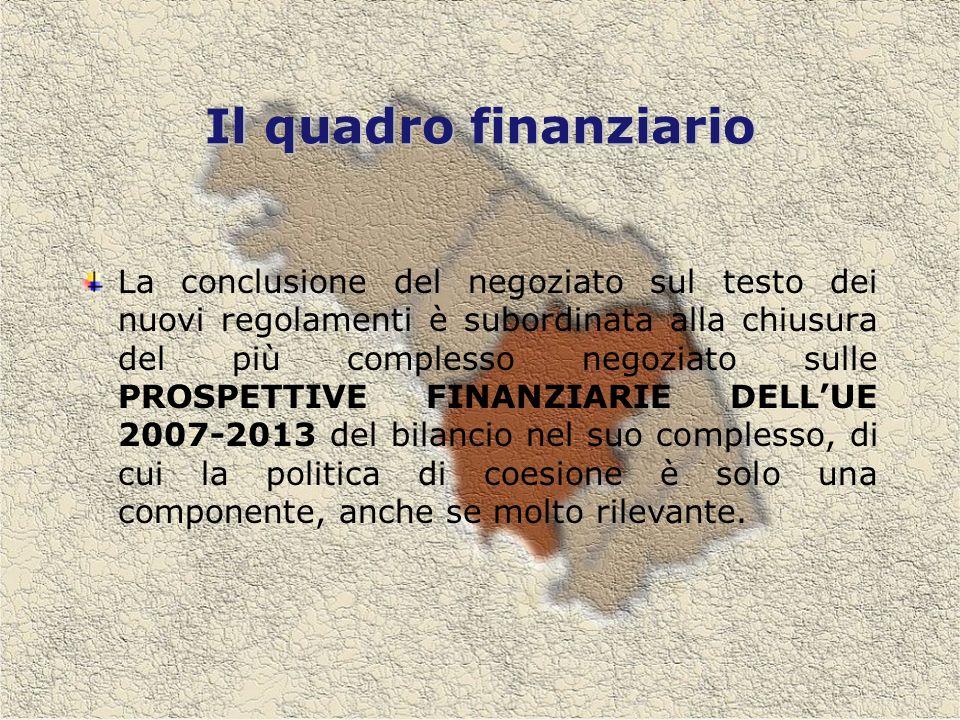 Il quadro finanziario La conclusione del negoziato sul testo dei nuovi regolamenti è subordinata alla chiusura del più complesso negoziato sulle PROSPETTIVE FINANZIARIE DELLUE 2007-2013 del bilancio nel suo complesso, di cui la politica di coesione è solo una componente, anche se molto rilevante.