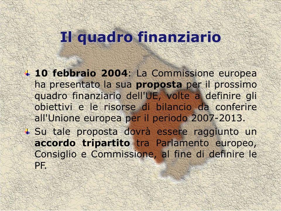 Il quadro finanziario 10 febbraio 2004: La Commissione europea ha presentato la sua proposta per il prossimo quadro finanziario dell UE, volte a definire gli obiettivi e le risorse di bilancio da conferire all Unione europea per il periodo 2007-2013.