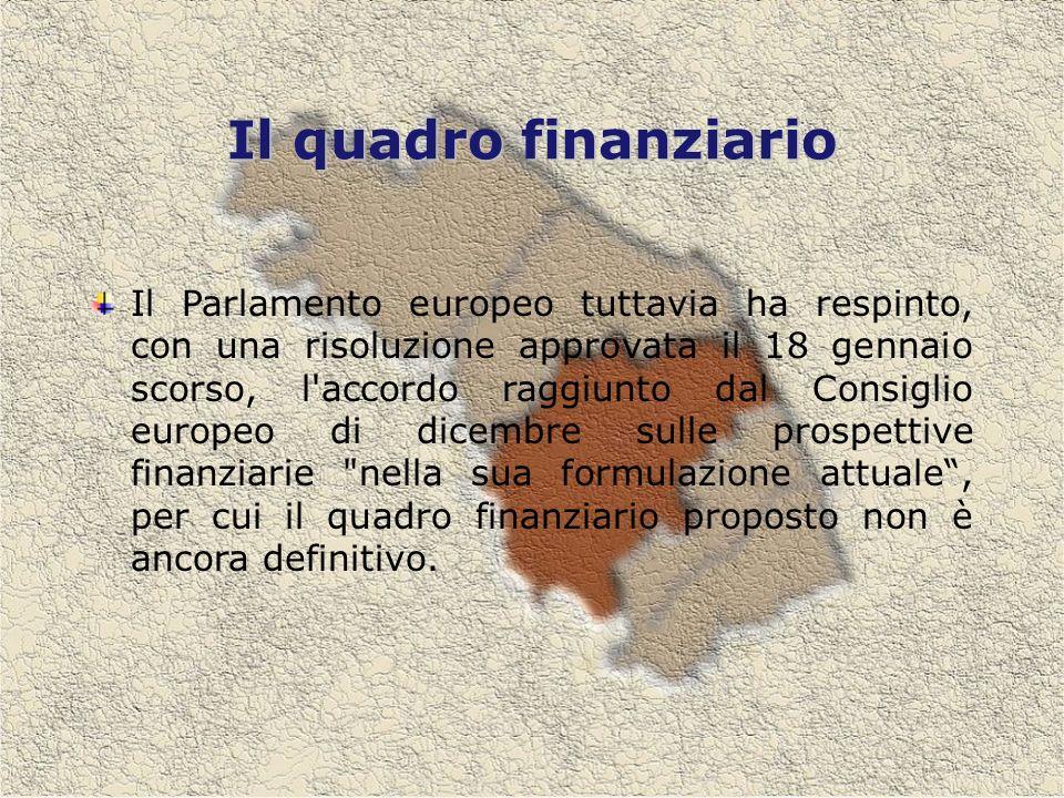Il quadro finanziario Il Parlamento europeo tuttavia ha respinto, con una risoluzione approvata il 18 gennaio scorso, l accordo raggiunto dal Consiglio europeo di dicembre sulle prospettive finanziarie nella sua formulazione attuale, per cui il quadro finanziario proposto non è ancora definitivo.