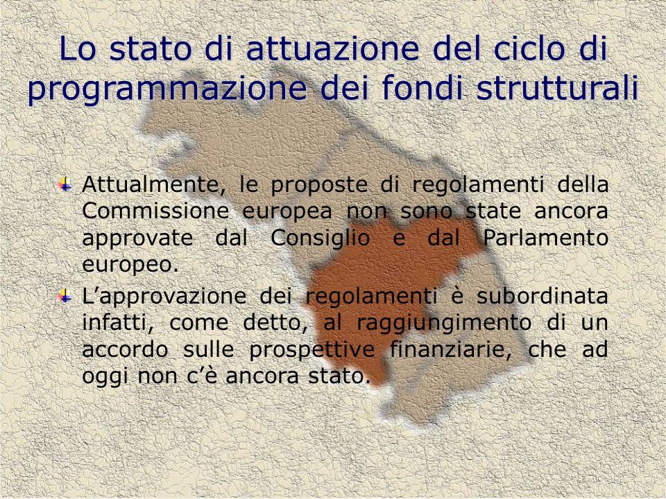 Lo stato di attuazione del ciclo di programmazione dei fondi strutturali Attualmente, le proposte di regolamenti della Commissione europea non sono state ancora approvate dal Consiglio e dal Parlamento europeo.