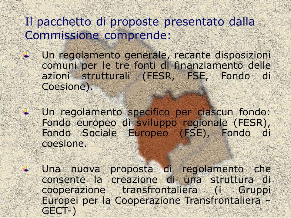 Il pacchetto di proposte presentato dalla Commissione comprende: Un regolamento generale, recante disposizioni comuni per le tre fonti di finanziamento delle azioni strutturali (FESR, FSE, Fondo di Coesione).
