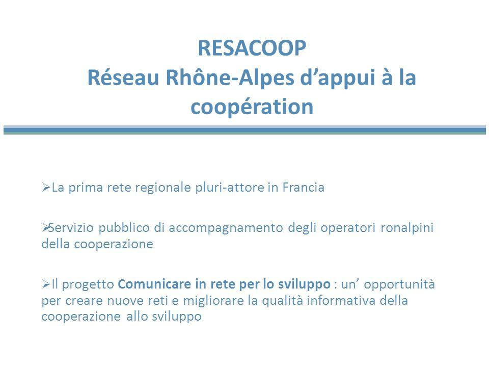 Due quotidiani regionali /territoriali: Le Progrès (1.077.000 l/g) e le Dauphiné Libéré (879.000 l/g) 4 quotidiani gratuiti : 20 minutes Lyon, 20 minutes Grenoble, Métro Lyon, Direct Matin Lyon+ 3 settimanali locali : Lyon Capitale, Mag2Lyon, Le Pays Roannais Una TV locale : France 3 Rhone-Alpes Un sito internet dinformazione locale : Rue89 Lyon LA MEDIATIZZAZIONE DELLA COOPERAZIONE ALLO SVILUPPO il campione selezionato