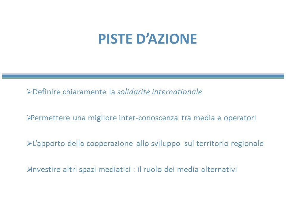 Definire chiaramente la solidarité internationale Permettere una migliore inter-conoscenza tra media e operatori Lapporto della cooperazione allo sviluppo sul territorio regionale Investire altri spazi mediatici : il ruolo dei media alternativi PISTE DAZIONE
