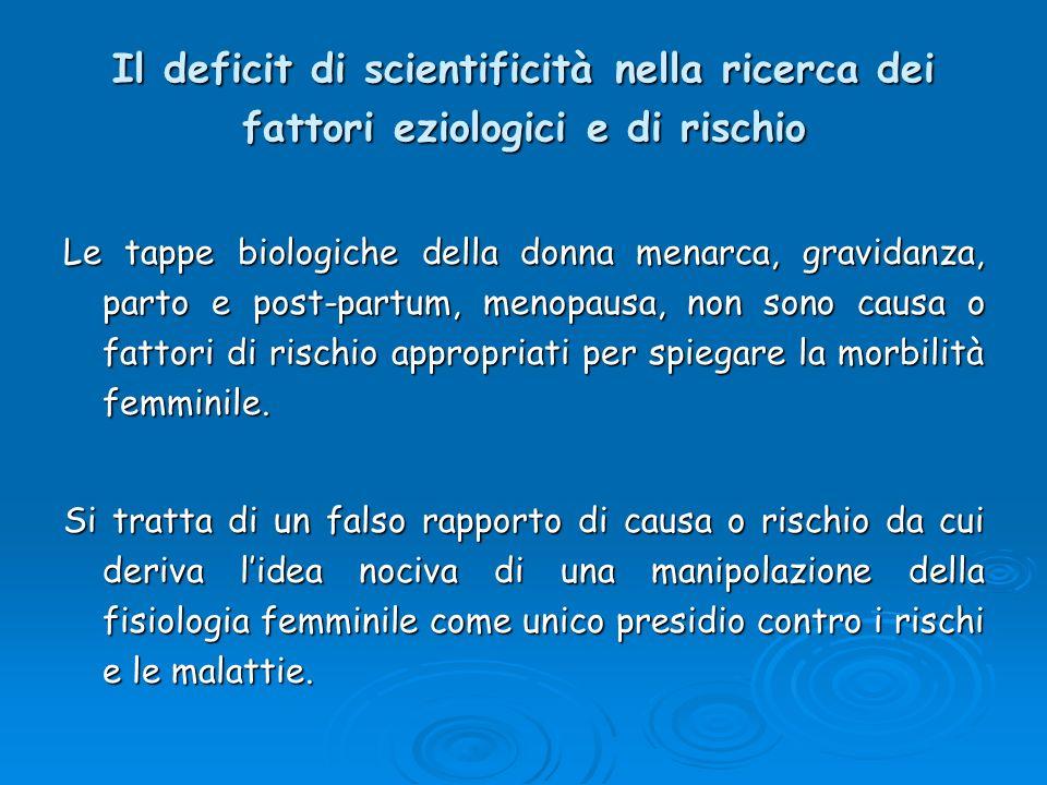 Il deficit di scientificità nella ricerca dei fattori eziologici e di rischio Le tappe biologiche della donna menarca, gravidanza, parto e post-partum