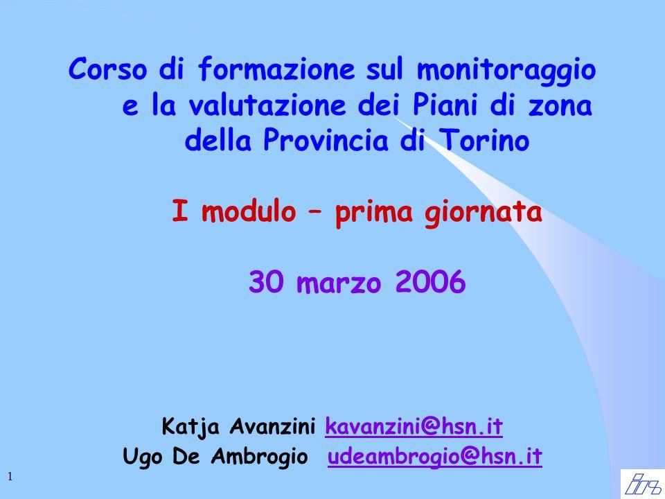 1 Corso di formazione sul monitoraggio e la valutazione dei Piani di zona della Provincia di Torino I modulo – prima giornata 30 marzo 2006 Katja Avanzini kavanzini@hsn.itkavanzini@hsn.it Ugo De Ambrogio udeambrogio@hsn.itudeambrogio@hsn.it