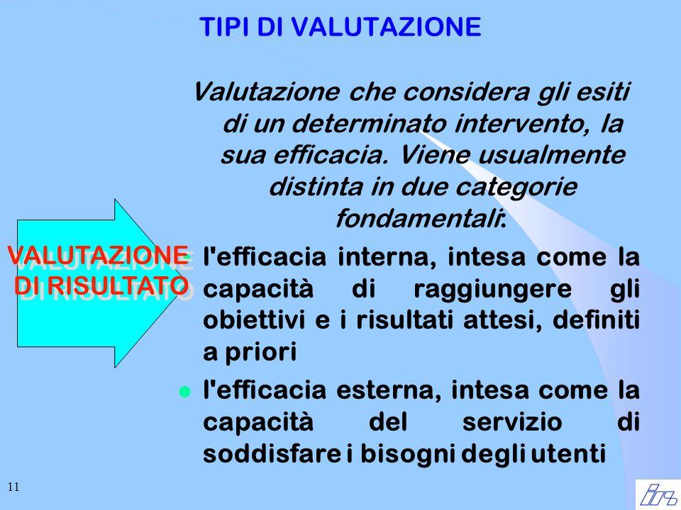 11 TIPI DI VALUTAZIONE Valutazione che considera gli esiti di un determinato intervento, la sua efficacia.