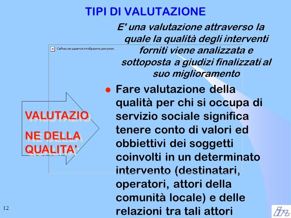 12 TIPI DI VALUTAZIONE E' una valutazione attraverso la quale la qualità degli interventi forniti viene analizzata e sottoposta a giudizi finalizzati