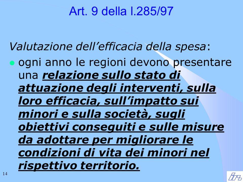 14 Art. 9 della l.285/97 Valutazione dellefficacia della spesa: l ogni anno le regioni devono presentare una relazione sullo stato di attuazione degli