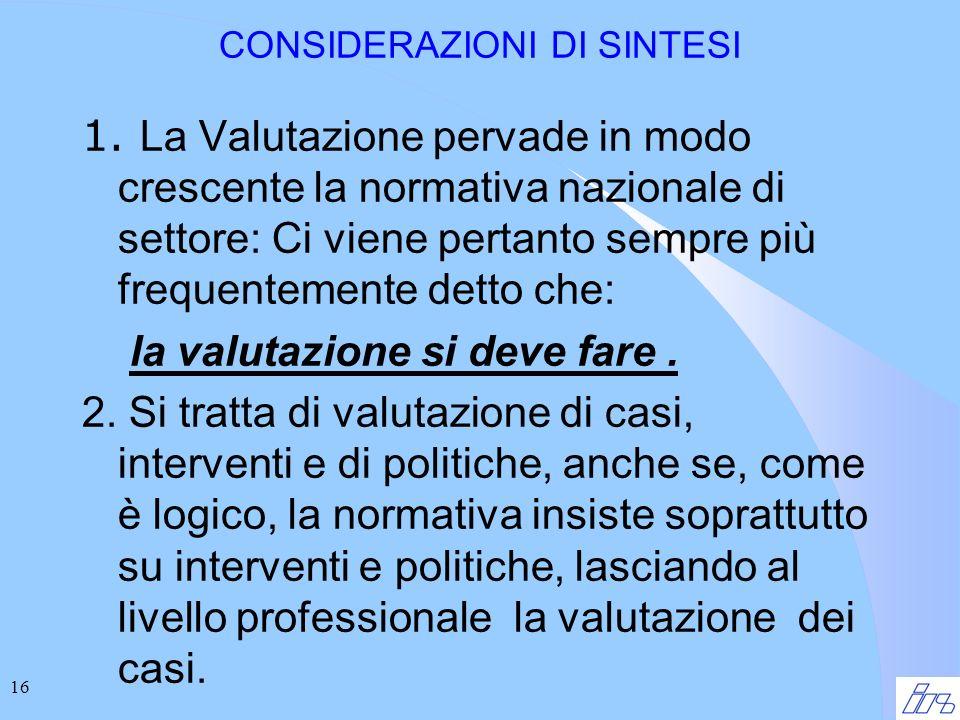16 CONSIDERAZIONI DI SINTESI 1.
