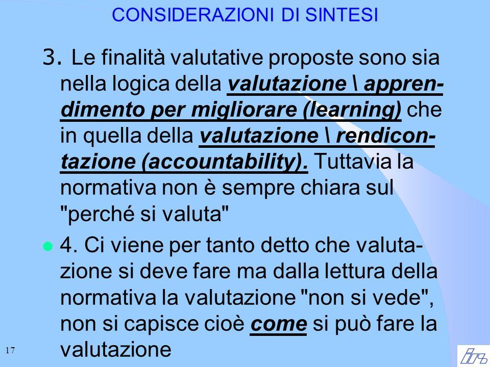 17 CONSIDERAZIONI DI SINTESI 3.
