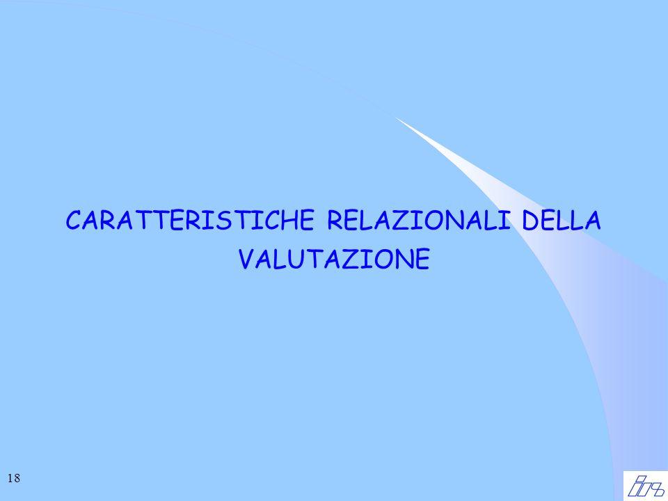 18 CARATTERISTICHE RELAZIONALI DELLA VALUTAZIONE