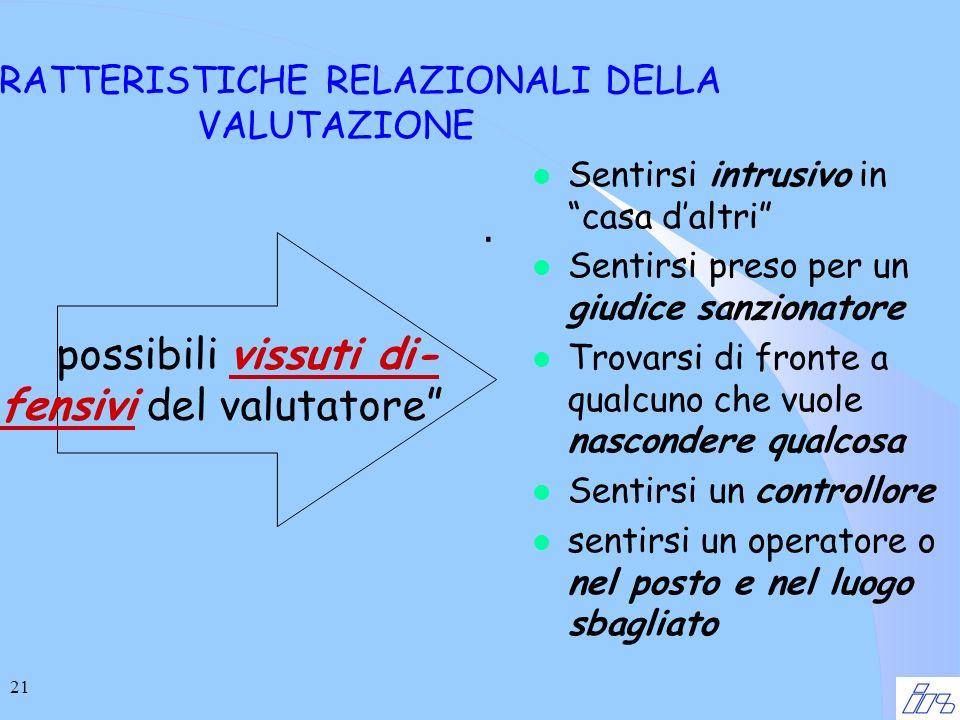 21 CARATTERISTICHE RELAZIONALI DELLA VALUTAZIONE.