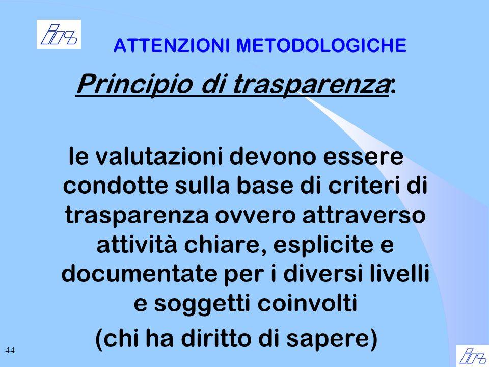 44 ATTENZIONI METODOLOGICHE Principio di trasparenza: le valutazioni devono essere condotte sulla base di criteri di trasparenza ovvero attraverso attività chiare, esplicite e documentate per i diversi livelli e soggetti coinvolti (chi ha diritto di sapere)