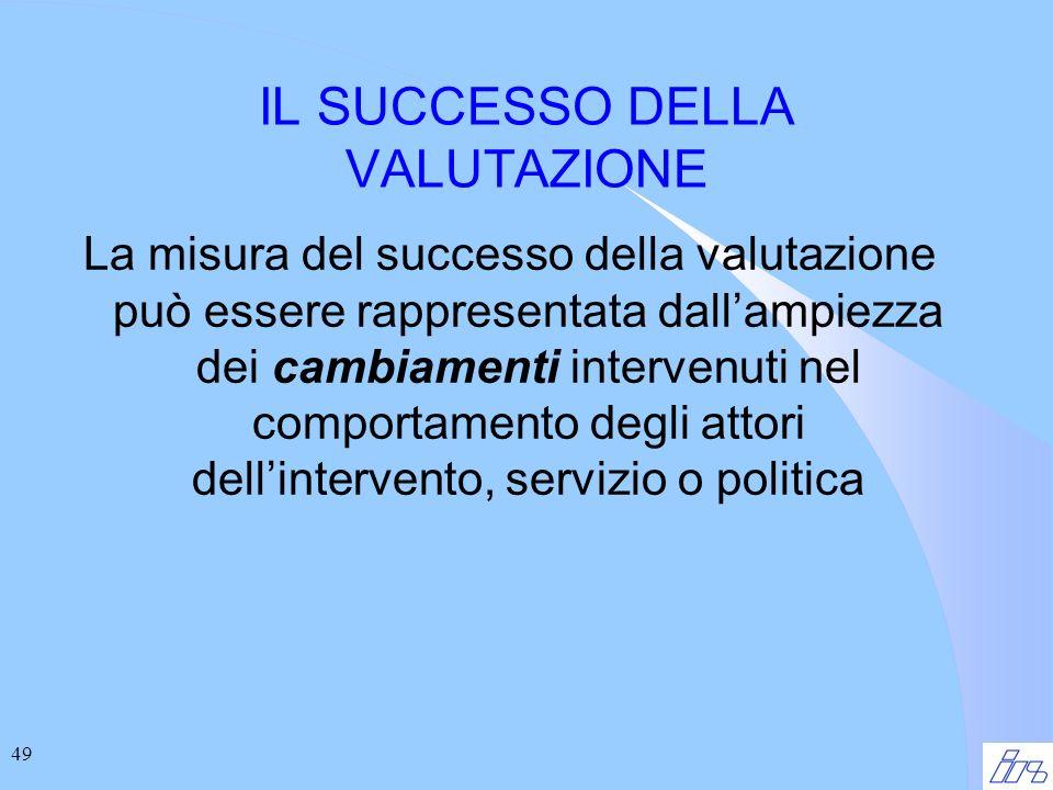 49 IL SUCCESSO DELLA VALUTAZIONE La misura del successo della valutazione può essere rappresentata dallampiezza dei cambiamenti intervenuti nel comportamento degli attori dellintervento, servizio o politica