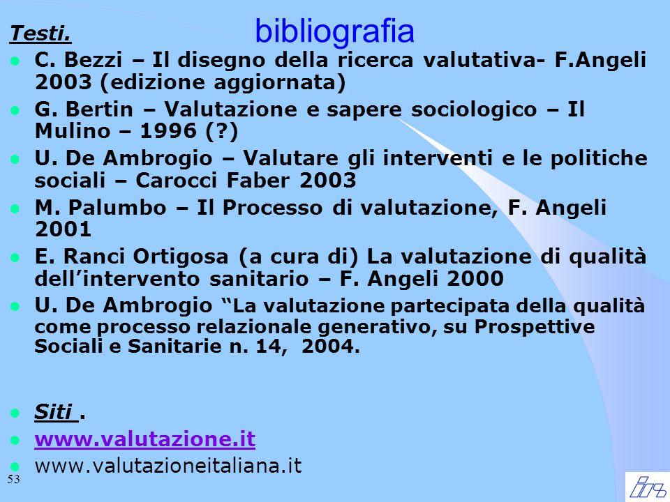 53 bibliografia Testi. l C. Bezzi – Il disegno della ricerca valutativa- F.Angeli 2003 (edizione aggiornata) l G. Bertin – Valutazione e sapere sociol