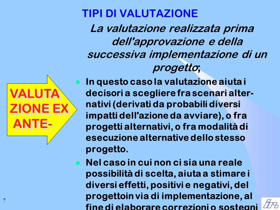 7 TIPI DI VALUTAZIONE La valutazione realizzata prima dell'approvazione e della successiva implementazione di un progetto; l In questo caso la valutaz