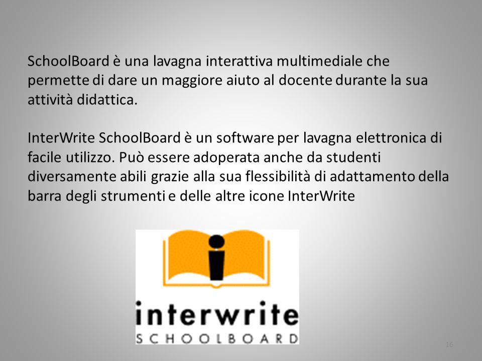 16 SchoolBoard è una lavagna interattiva multimediale che permette di dare un maggiore aiuto al docente durante la sua attività didattica. InterWrite