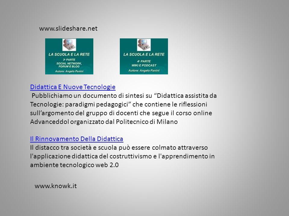 Didattica E Nuove Tecnologie Pubblichiamo un documento di sintesi su Didattica assistita da Tecnologie: paradigmi pedagogici che contiene le riflessio