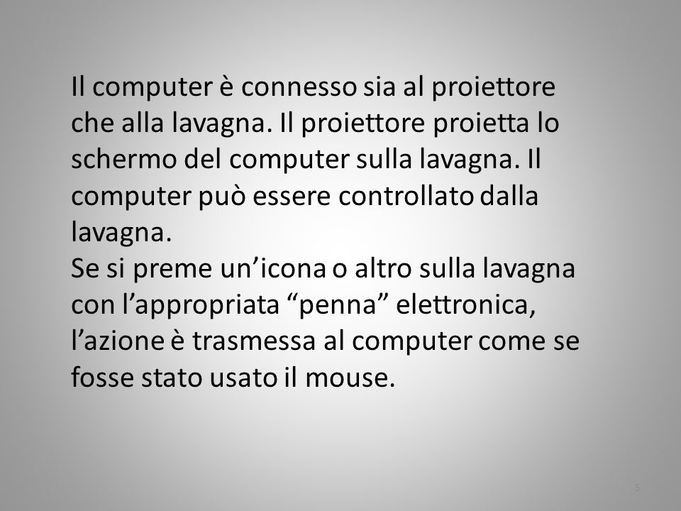 Il computer è connesso sia al proiettore che alla lavagna. Il proiettore proietta lo schermo del computer sulla lavagna. Il computer può essere contro