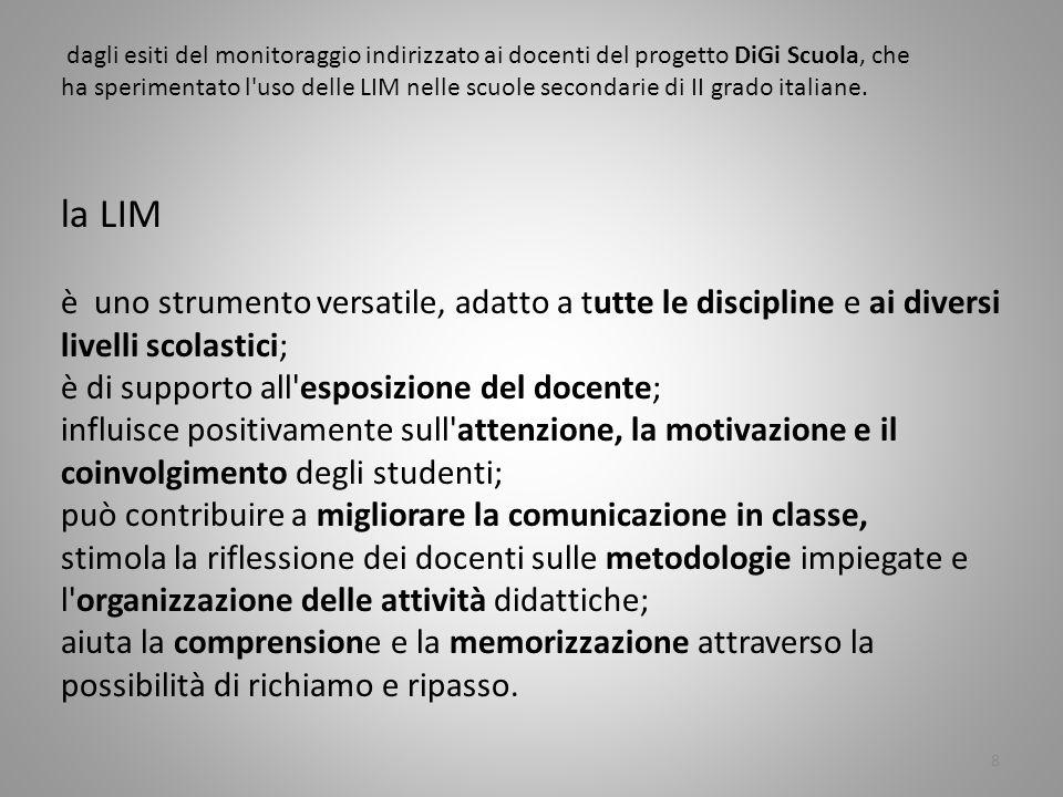 la LIM è uno strumento versatile, adatto a tutte le discipline e ai diversi livelli scolastici; è di supporto all'esposizione del docente; influisce p