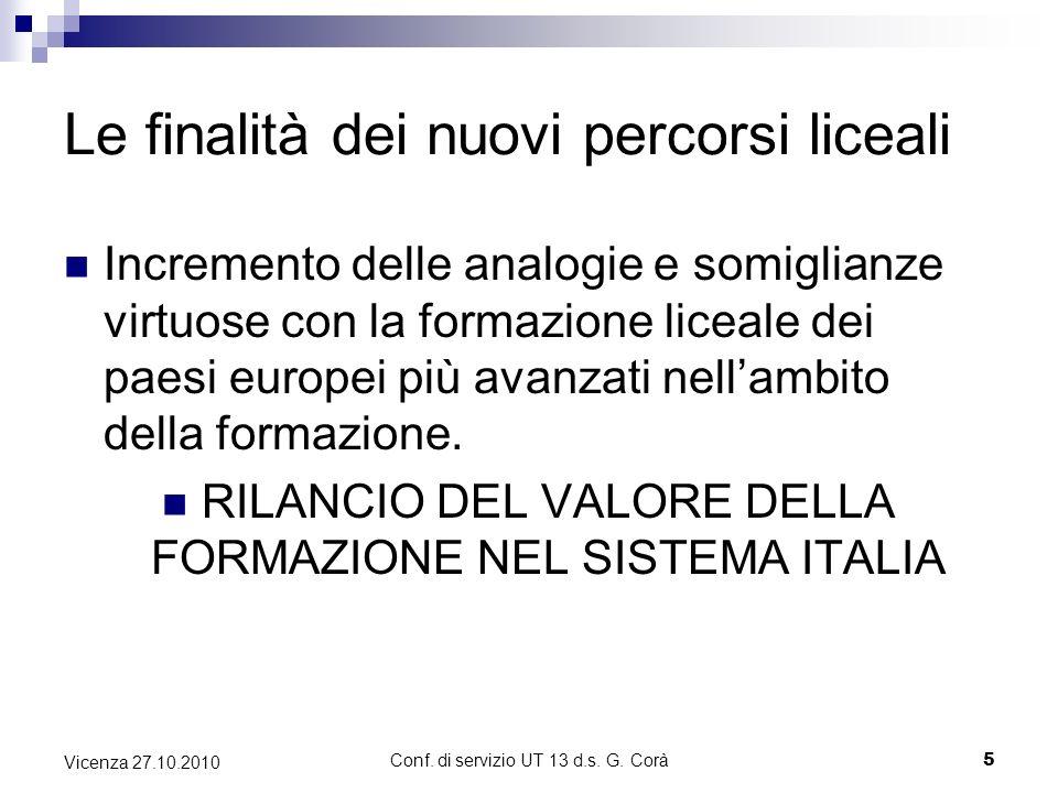 Conf. di servizio UT 13 d.s. G. Corà5 Vicenza 27.10.2010 Le finalità dei nuovi percorsi liceali Incremento delle analogie e somiglianze virtuose con l