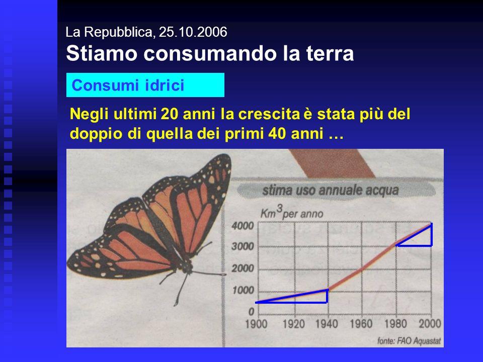 La Repubblica, 25.10.2006 Stiamo consumando la terra Consumi idrici Negli ultimi 20 anni la crescita è stata più del doppio di quella dei primi 40 ann