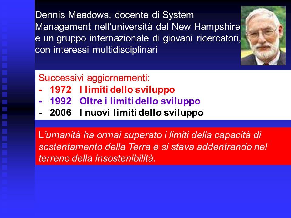 Dennis Meadows, docente di System Management nelluniversità del New Hampshire e un gruppo internazionale di giovani ricercatori, con interessi multidi