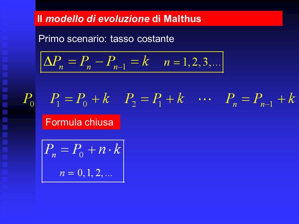 Il modello di evoluzione di Malthus Formula chiusa Primo scenario: tasso costante