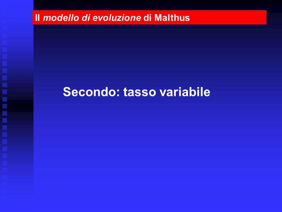 Il modello di evoluzione di Malthus Secondo: tasso variabile